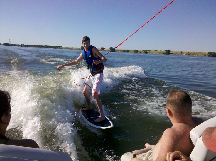 Wakeboarding on the beautiful Sutherland Reservoir.