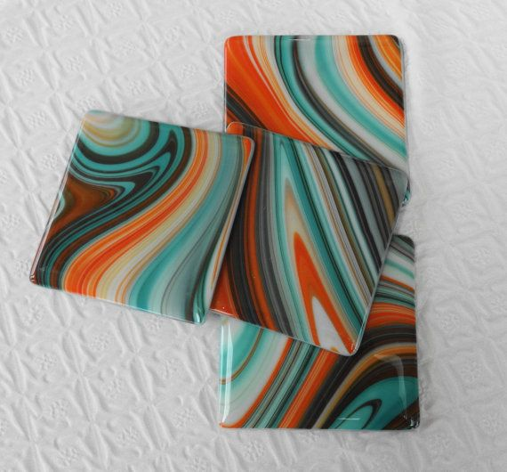 Blue Terra Cotta Glass Coasters Southwestern Inspired by GlassCat