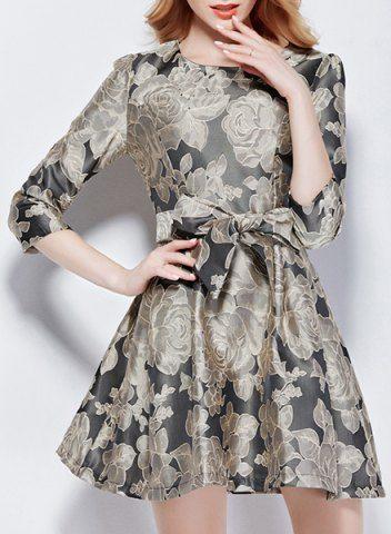 Stylish Jewel Neck 3/4 Sleeve Bowknot Embellished Floral Print Women's Dress