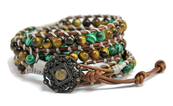 Savana * Malachite & Tiger Eye Brown Multi Leather Strand Boho Style Women Wrap Bracelet