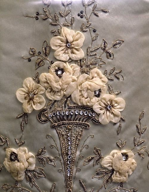 Detail of antique gown's embroidery