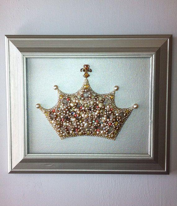 Pearl Princess Crown Wall Art/Nursery Art/Princess Art/Crown Art/Princess Decor/Mosaic Art/Queen Art/Beaded Art on Etsy, $100.00