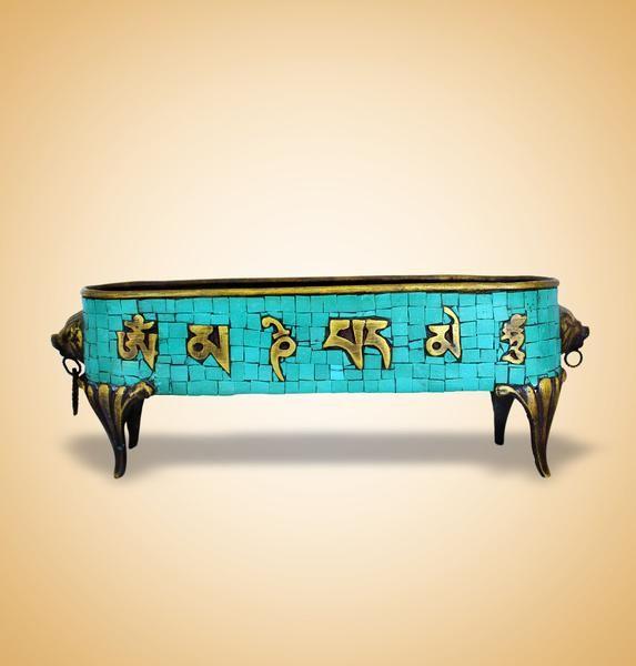 Tibetan Tradition Turquoise Colour Incense Burner @devotionalstore