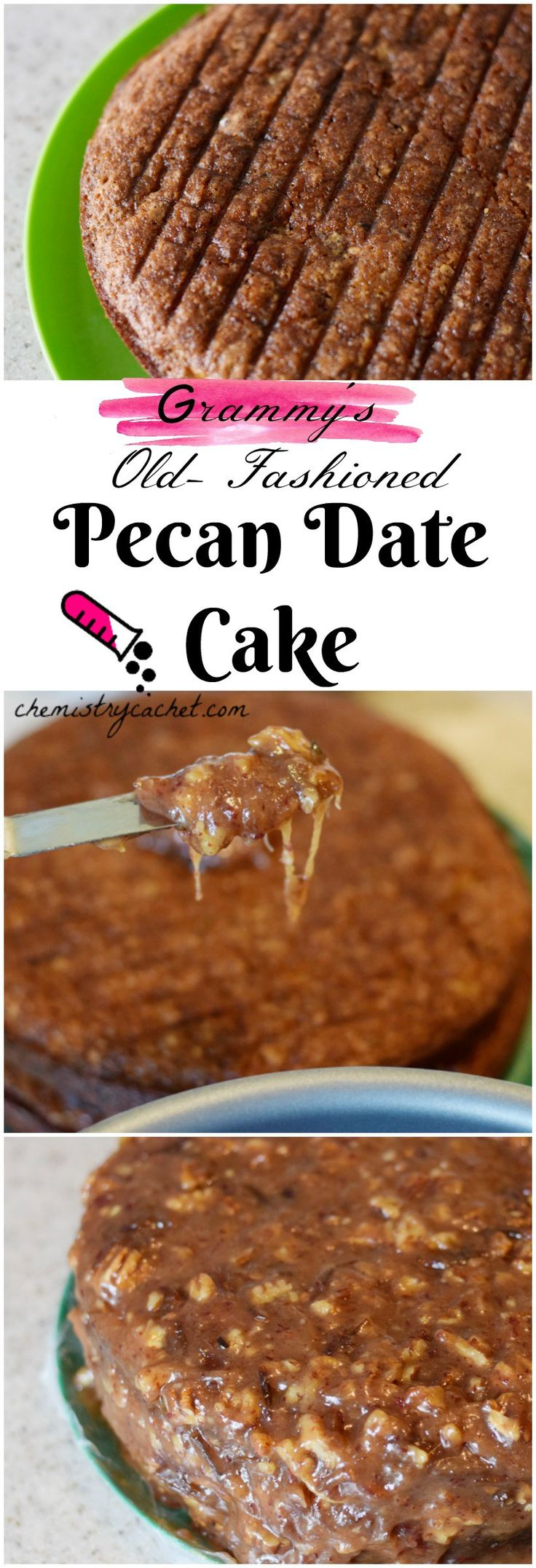 Grammy's old-fashioned pecan date cake. A beautiful, special vintage cake recipe perfect for any occassion! Pecan date cake recipe on chemistrycachet.com