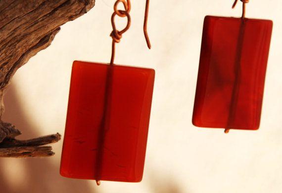Boho agete geometric copper earrings. by Copperia on Etsy