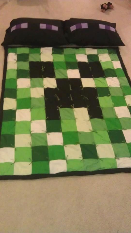 My Minecraft Quilt and Enderman Pillowcases available on http://www.etsy.com/shop/KeepClamandQuiltOn