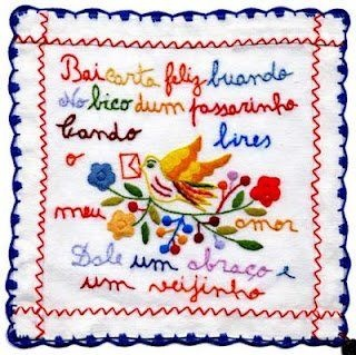 Embroidered handkerchief with messages...Portuguese crafts