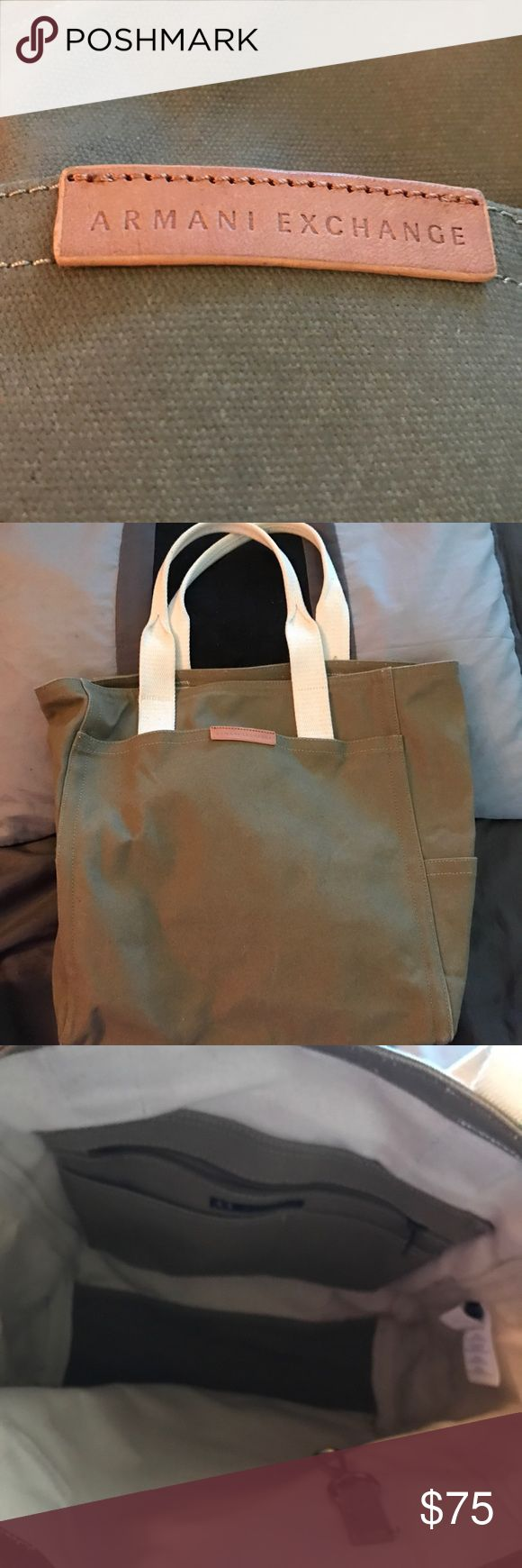 %Authentic Armani Exchange tote bag NEW  %Authentic Armani Exchange canvas tote bag NEW color cream and military green color  This roomy canvas tote has sturdy style.  Easy everyday tote.   Leather branded patch and multiple pockets see the pic Armani Exchange Bags Totes