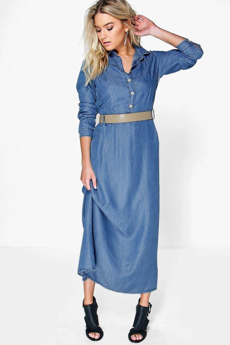 Long Sleeve Denim Maxi Dress   Dresscab