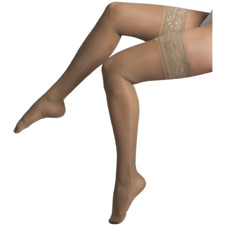 Beige Size Small H-40 20-22 mmHg Compression ITA-MED Sheer Thigh High Hosiery