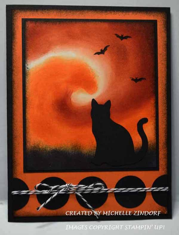 Good Luck Cat - Stampin' Up! Card created by Michelle Zindorf - Graveyard Gate Stamp Set - Cat Punch