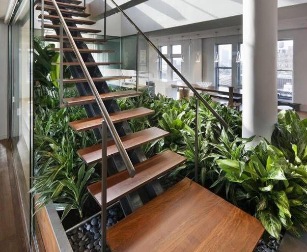 Indoors garden plants luxury stair wood modern interiors