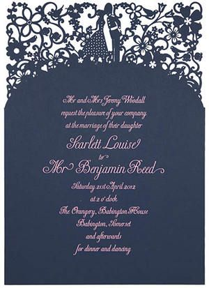Chartula - A Little Romance Laser Cut Wedding Invitation - Pink on French Navy - Designer invitations for a luxury wedding by www.chartula.co.uk