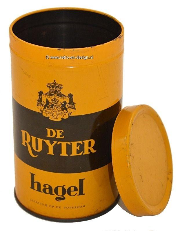 Vintage blik De Ruyter hagel, geel/bruin