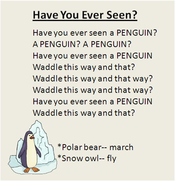 """Have You Ever Seen?"" Polar animal movement song, great for the Winter season. To the tune ""Did You Ever See a Lassie?"""