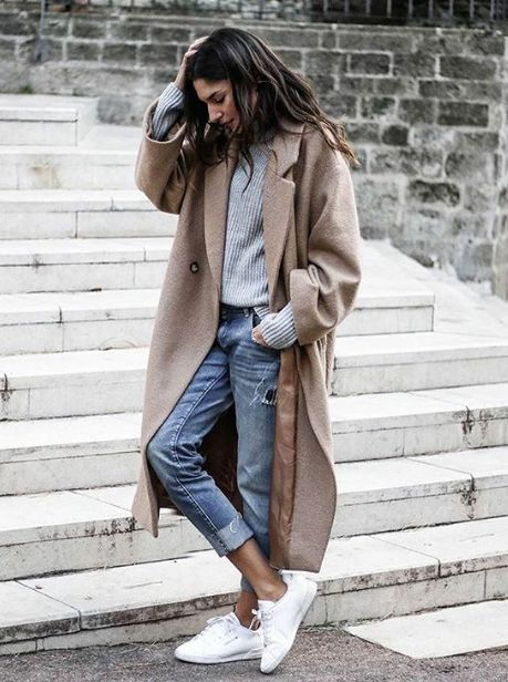 Light Coat Grey Knit White Sneakers Cropped Denim Casual Street Style Fall Outfit Inspiration Cozy Layers For Winter
