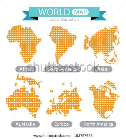 Africa. Asia. Australia. Europe. North america. South america. World Map vector…