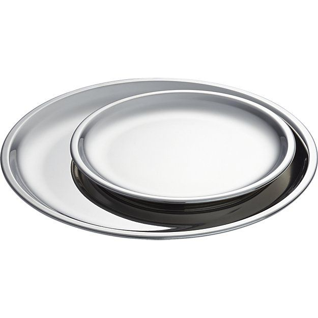 stainless steel plates - dinner and salad