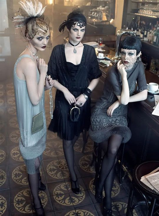Some of our favorite models rock the 20s look, getting us very excited for the upcoming Great Gatsby movie.
