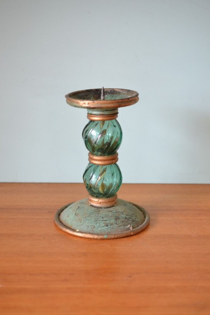Vintage green glass and metal candle holder - Funky Flamingo