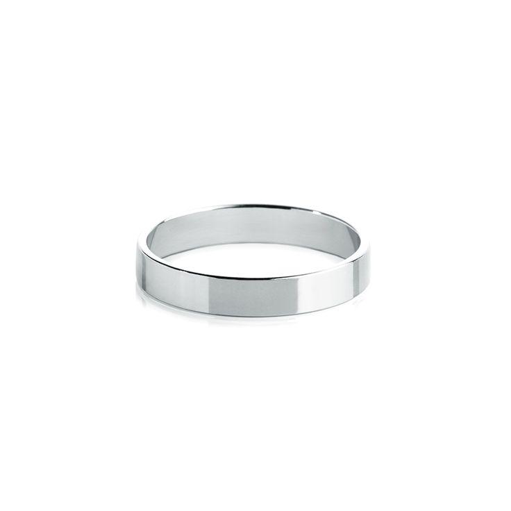 Обручальные кольца : Обручальное кольцо, классическое плоское белое золото, 585 проба, ширина 4 мм.