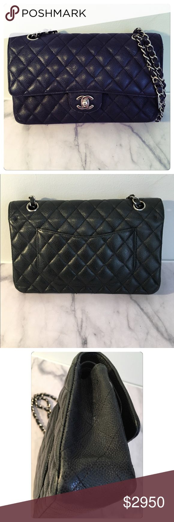  CHANEL Caviar Small Double Flap Bag Authentic CHANEL handbag with silver hardware, exterior rear flat pocket and CC turnlock.   Great used condition. Normal wear on corners, some edges, and inside. Please look at close-up photos. They are representative of wear.   No serial number due to cleaning. Serial number is not needed for authentication and does not hold value. Poshmark will authenticate this bag before sending it to you. NO TRADES. NO PP. No discussions of price in comments. Offers…