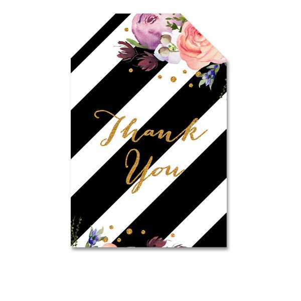 DIY  Thank You Tags - Black White Kate Spade Inspired Gold Glitter Watercolor Floral Flowers - Instant Download Printable