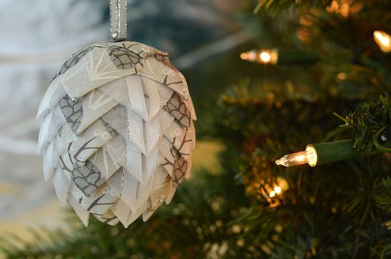 Ribbon Pine Cone Christmas Ornament  Silver & White Handmade Holiday Tree Decoration  Coffee Table Bauble  Unique Gift for Girlfriend by kikiverde from Kikiverde Design Studio Find it now at http://ift.tt/1U6yEUz! #EtsyGifts #Handmade #Etsy
