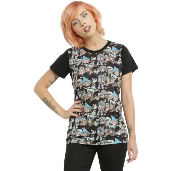 Hot Topic Soul Eater Chibi Characters Sublimation Girls T-Shirt ($18) ❤ liked on Polyvore featuring tops, t-shirts, print t shirts, fitted t shirts, animal tees, fitted tops and fitted tee