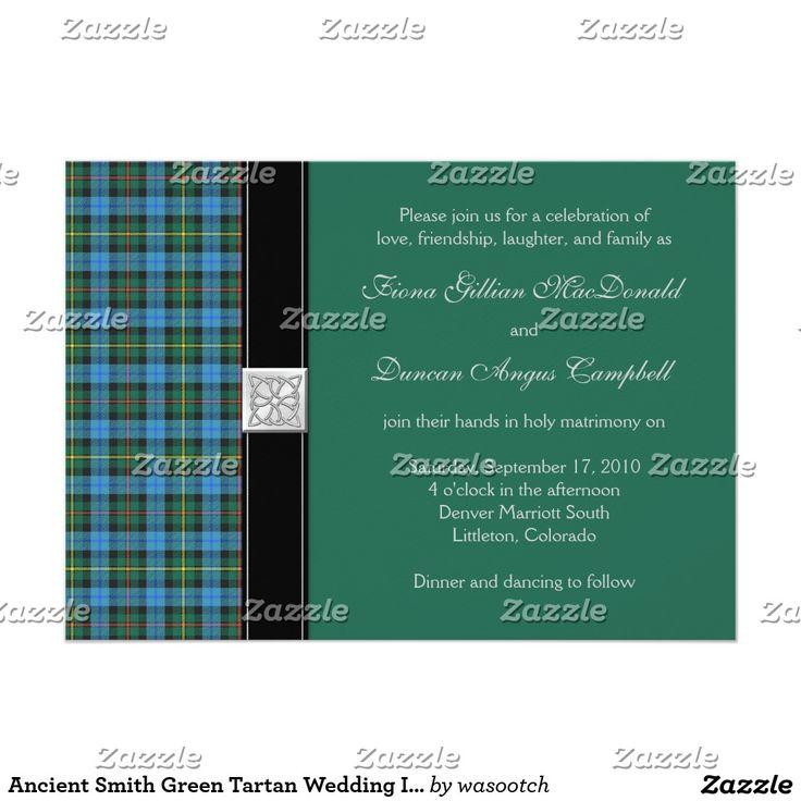 zazzle wedding invitations promo code%0A Ancient Smith Green Tartan Wedding Invitation