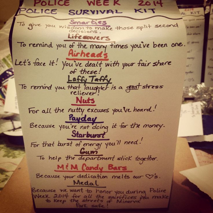 Police Survival Kit....I've seen basically only one version of these out there, so I wanted to combine some of the ideas from that one and my own ideas as well! These were a HUGE hit! Very well received and liked!