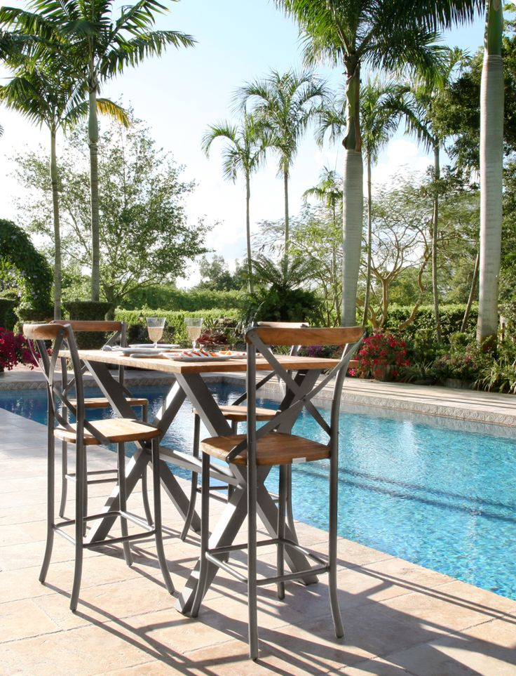Dine al fresco with an outdoor pub table and barstools. Made to last from solid teak and aluminum.