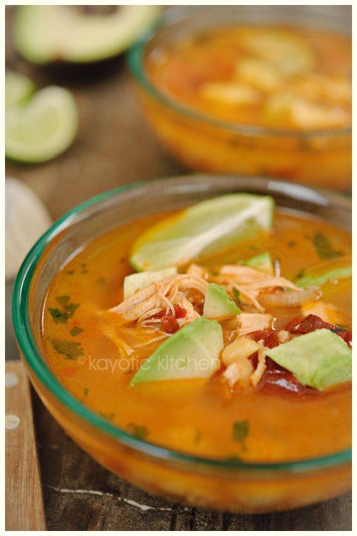 Caldo Tlalpeño. (Tlalpeño soup)- chicken, chipotle, adobo, avocado, lime, and melty cheese... Mexico's best kept secret ;)