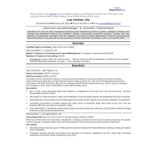 Entry Level Bookkeeper Resume Sample - http://www.resumecareer ...