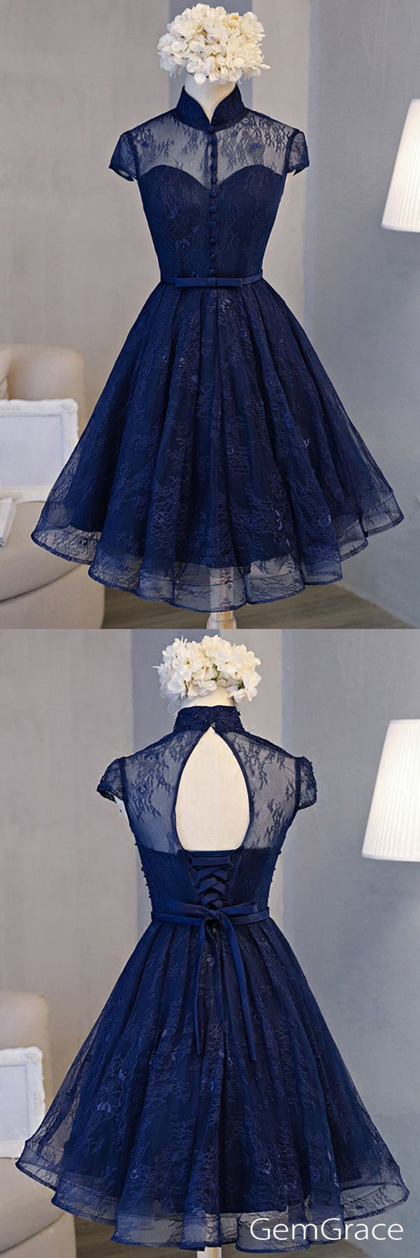 Navy blue special high neck party prom dress