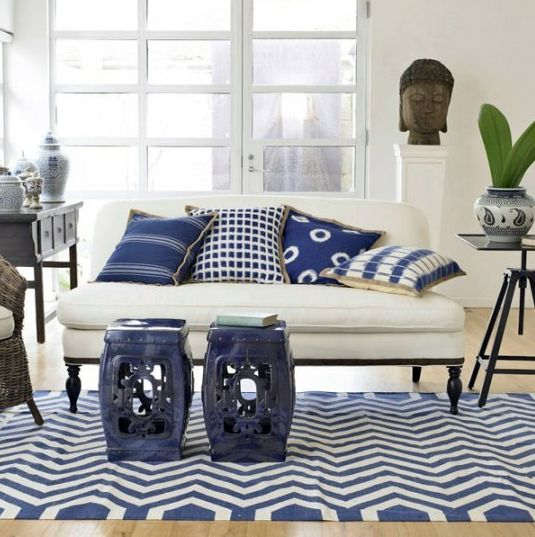Love The White And Blue Garden Stools In The Living Room!