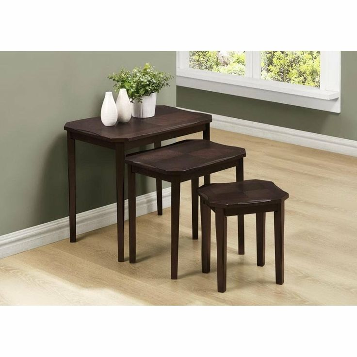 Monarch Specialties Nesting Table Set   Cappuccino Cherry I 1697