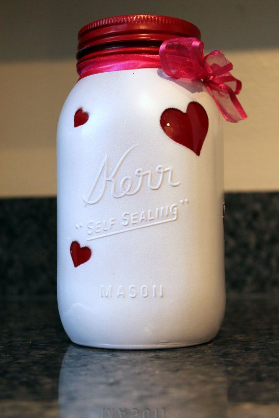 Painted red and white Mason Jar. Perfect as Valentine's decor and so much more! on Etsy, $7.00