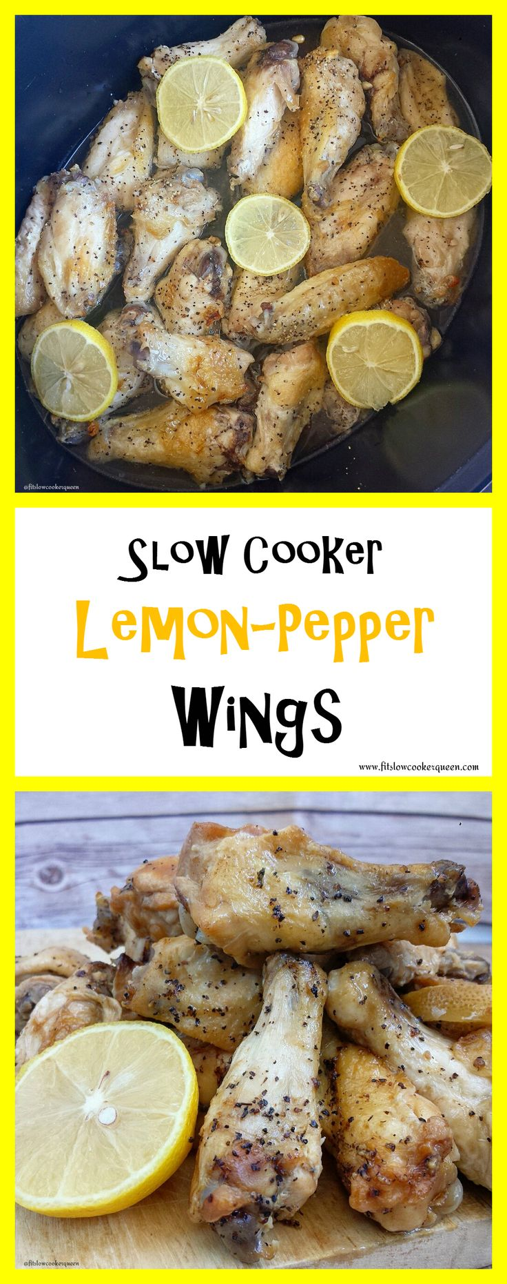 Healthy crockpot / slow cooker recipe whole30 paleo - A light, homemade lemon-pepper sauce slow cooks with wings for this healthy game day appetizer. This recipe is whole 30 compliant, paleo and a crowd pleaser.