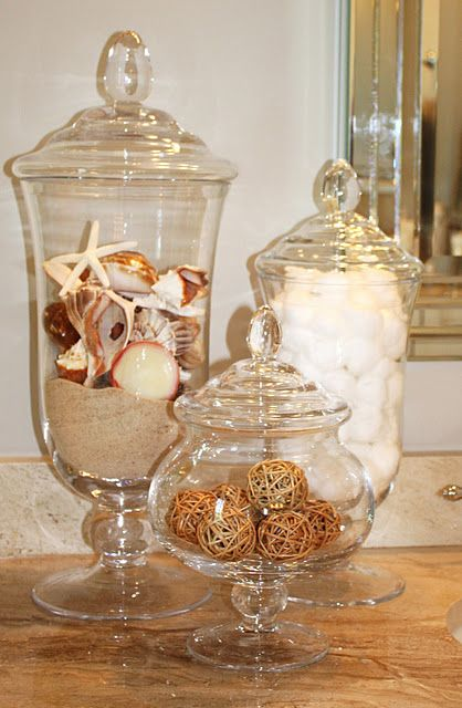 Ideas for accessorizing my future coastal living inspired for Bathroom apothecary jar ideas