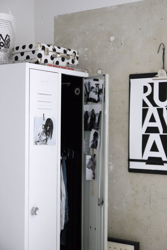 Vosgesparis metal locker with dotted suitcase on top CLipboard with RUNAWAY poster from Mini Maxius
