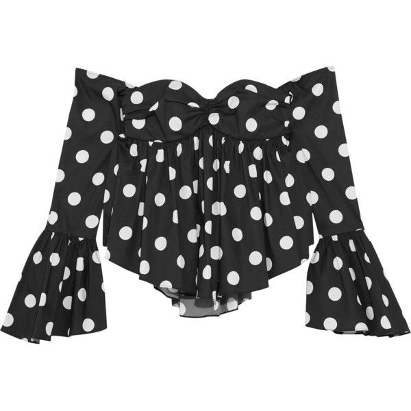 Caroline Constas Off-the-shoulder polka-dot cotton-blend poplin top ($390) ❤ liked on Polyvore featuring tops, black, cocktail tops, polka dot top, ruched top, corset style tops and ruched off the shoulder top