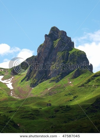 Flumserberg, Green Mountain, Alps, Switzerland, blue Sky