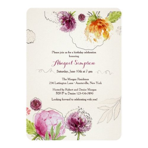 251 best watercolor birthday invitations images on pinterest flower bliss invitation zazzle invitationsbirthday filmwisefo Choice Image