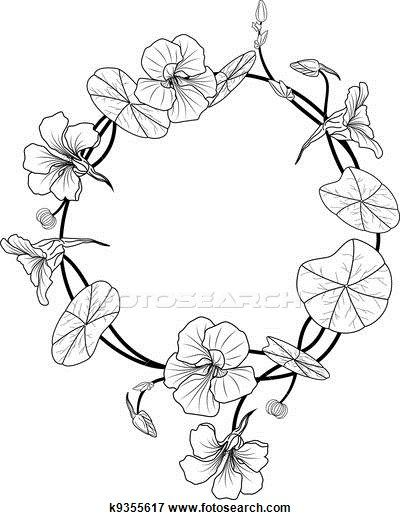 Clip Art of nasturtium frame k9355617 - Search Clipart, Illustration Posters, Drawings, and EPS Vector Graphics Images - k9355617.eps