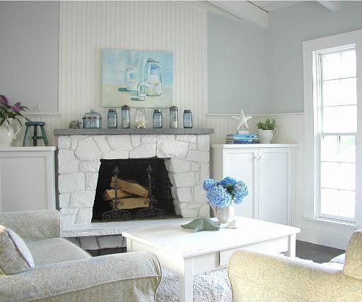 Beadboard and stone fireplace