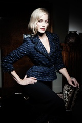 Holly Jacket in Blue/Black Tweed worn with Anais Skirt