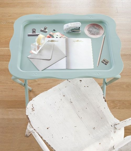 This is such a cute take on T.V. trays!!    The Cottage Market: 25 Easy Decorating Tips