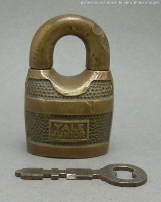 Vintage Yale Jr. Junior Brass Scandinavian Padlock Lock with Miller Key