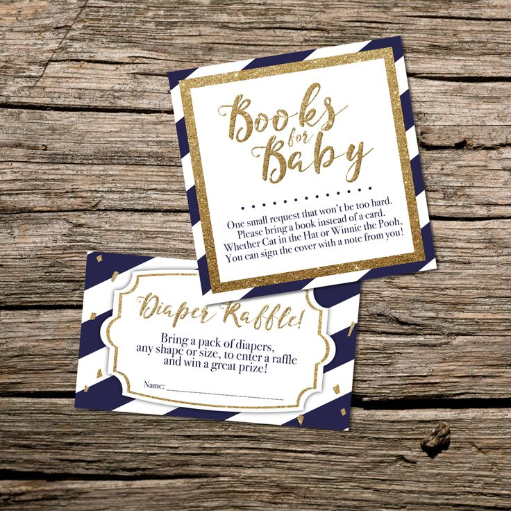 Books For Baby And Diaper Raffle Ideas. Navy And Gold Baby Shower.